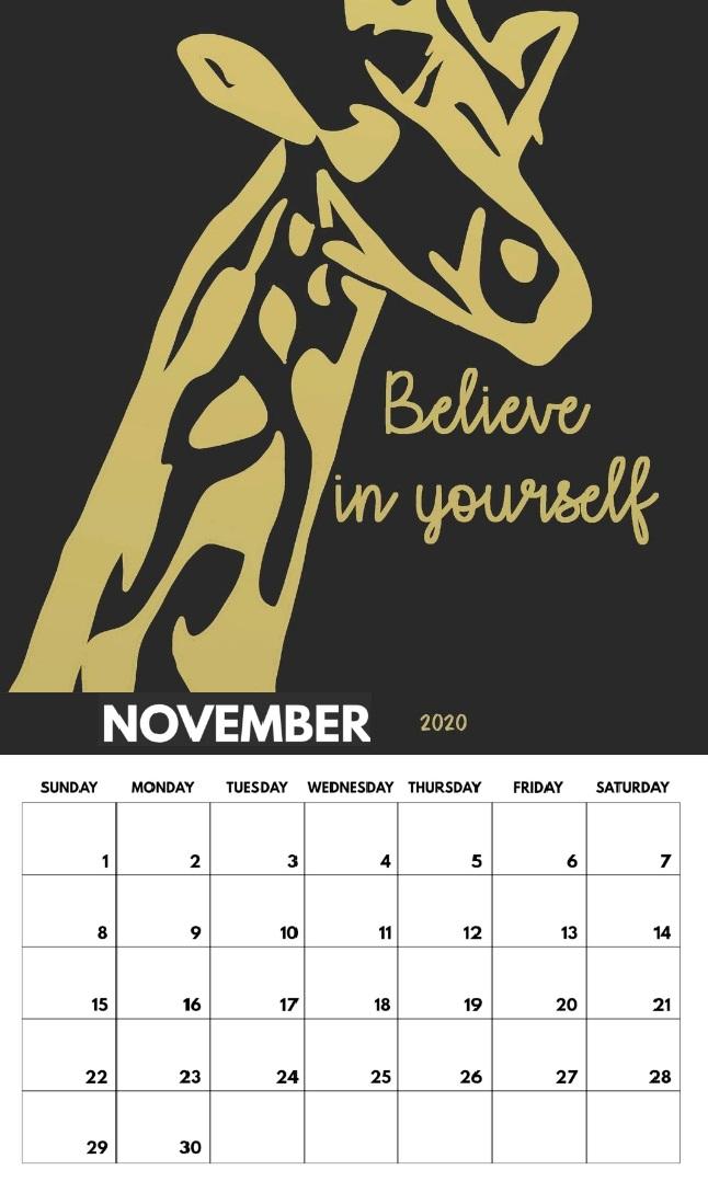 Free November 2020 Quotes Calendar