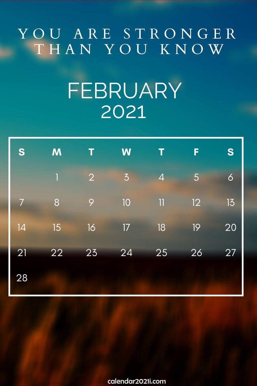 Inspirational February 2021 Calendar