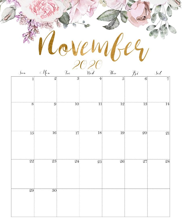 Monthly November 2020 Calendar Designs