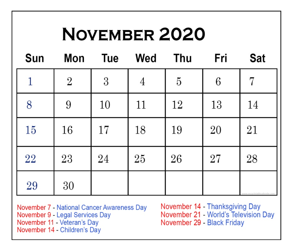 Monthly November 2020 Holidays Calendar