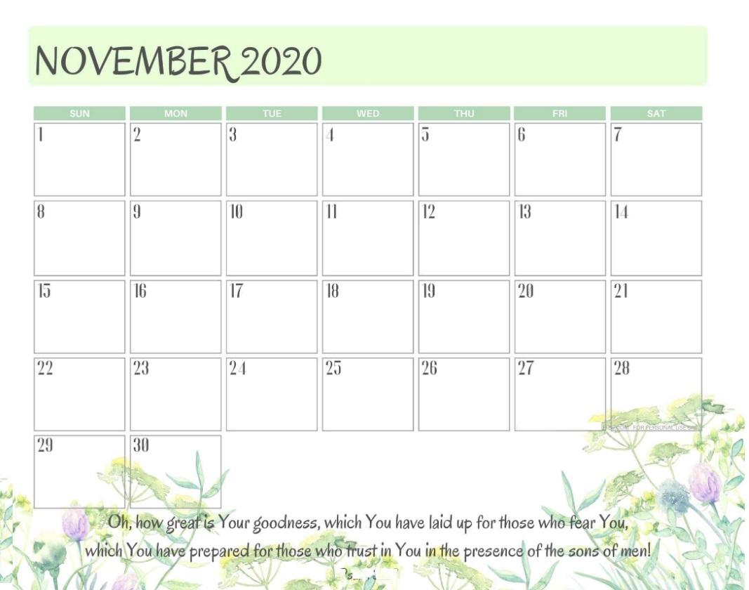 Motivational November 2020 Calendar Designs