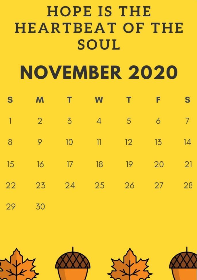November 2020 Beautiful Quotes Calendar