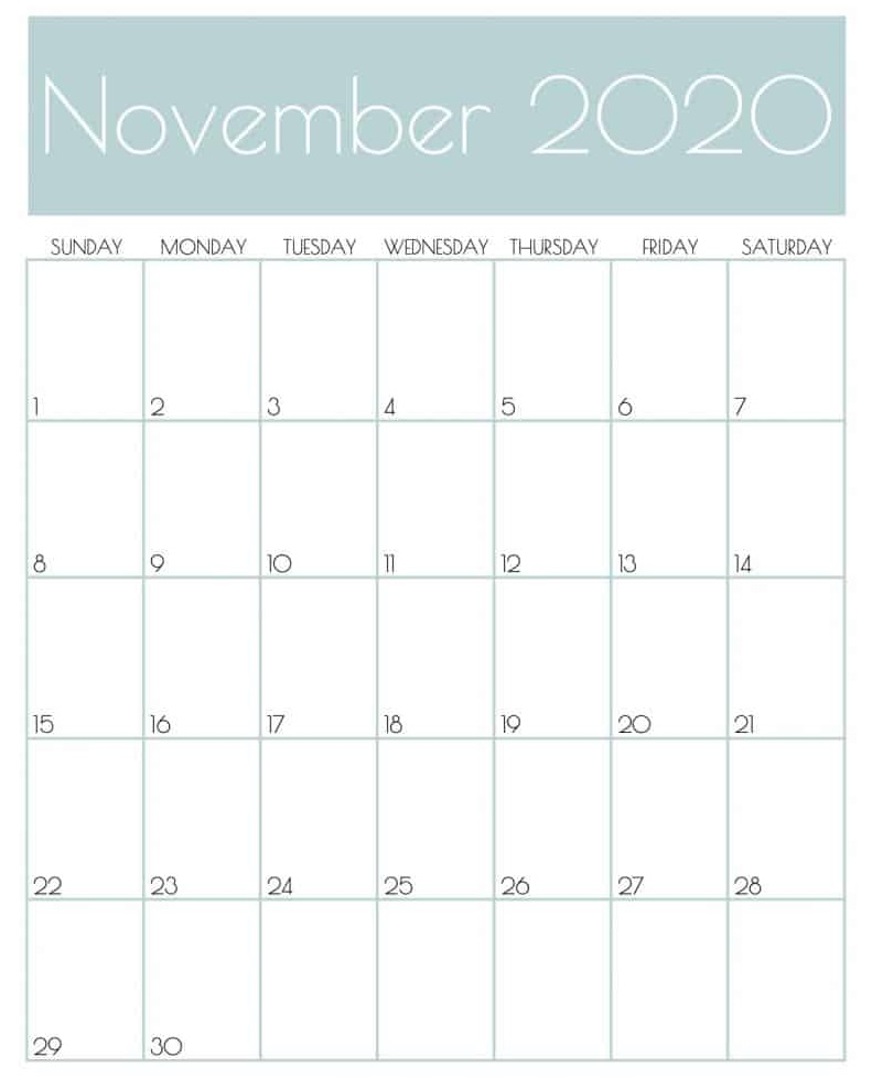 November 2020 Calendar Designs Download