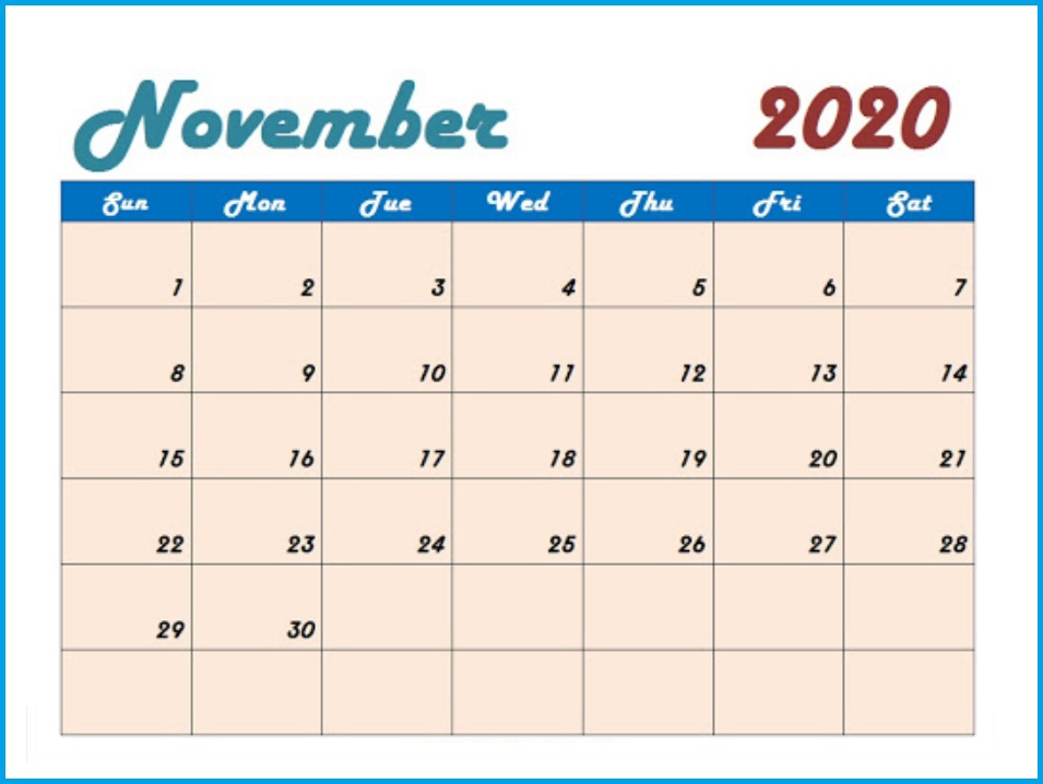 November 2020 Calendar Designs Template