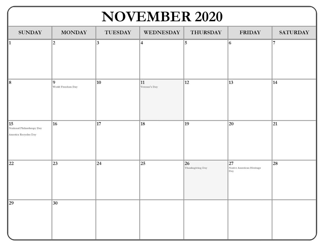 November 2020 Holidays Calendar Download