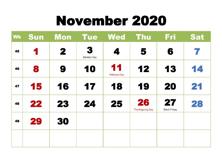 November 2020 Holidays Calendar For Desk
