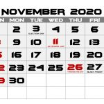 November 2020 Holidays Calendar For Office