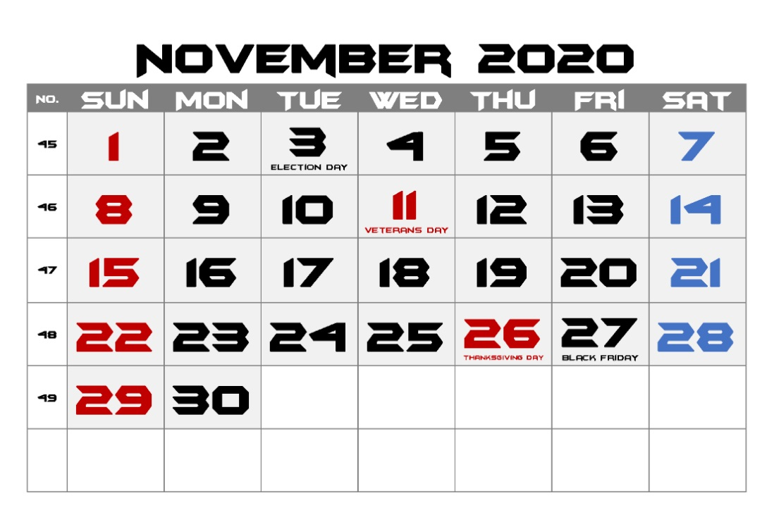 November 2020 Holidays Calendar For Office