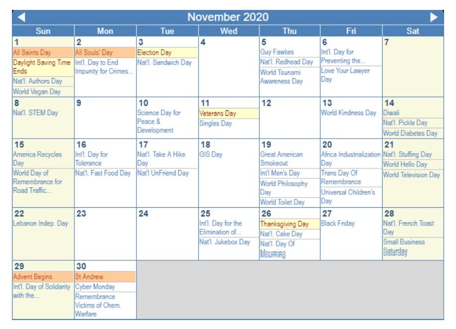 November 2020 Holidays Calendar Planner