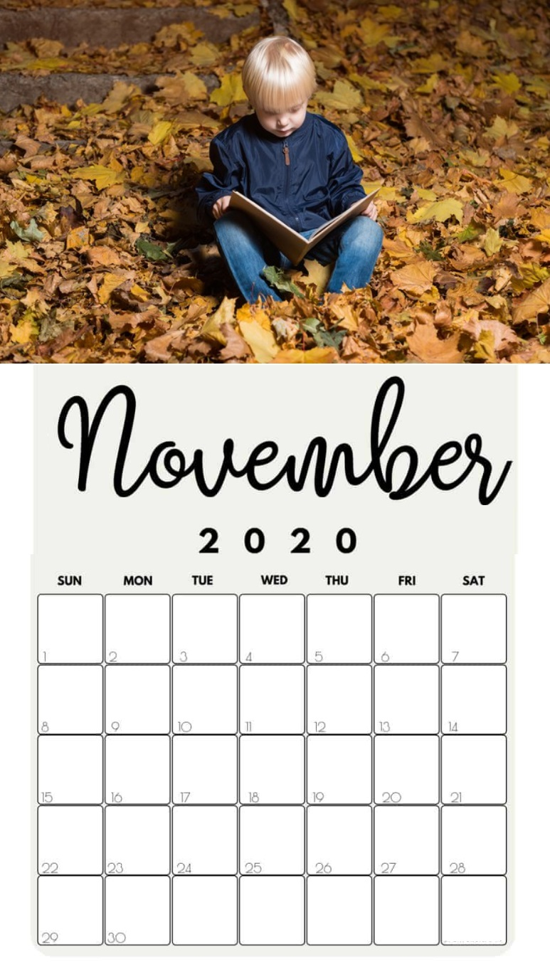 November 2020 Little Boy Wall Calendar