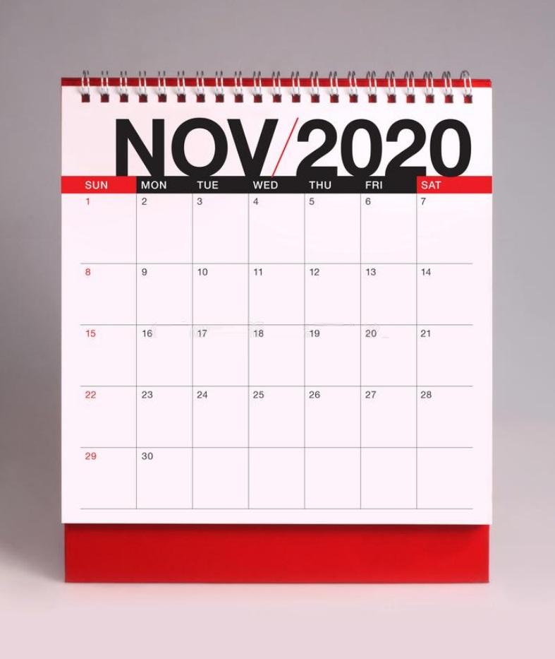 November 2020 Office Desk Calendar Download