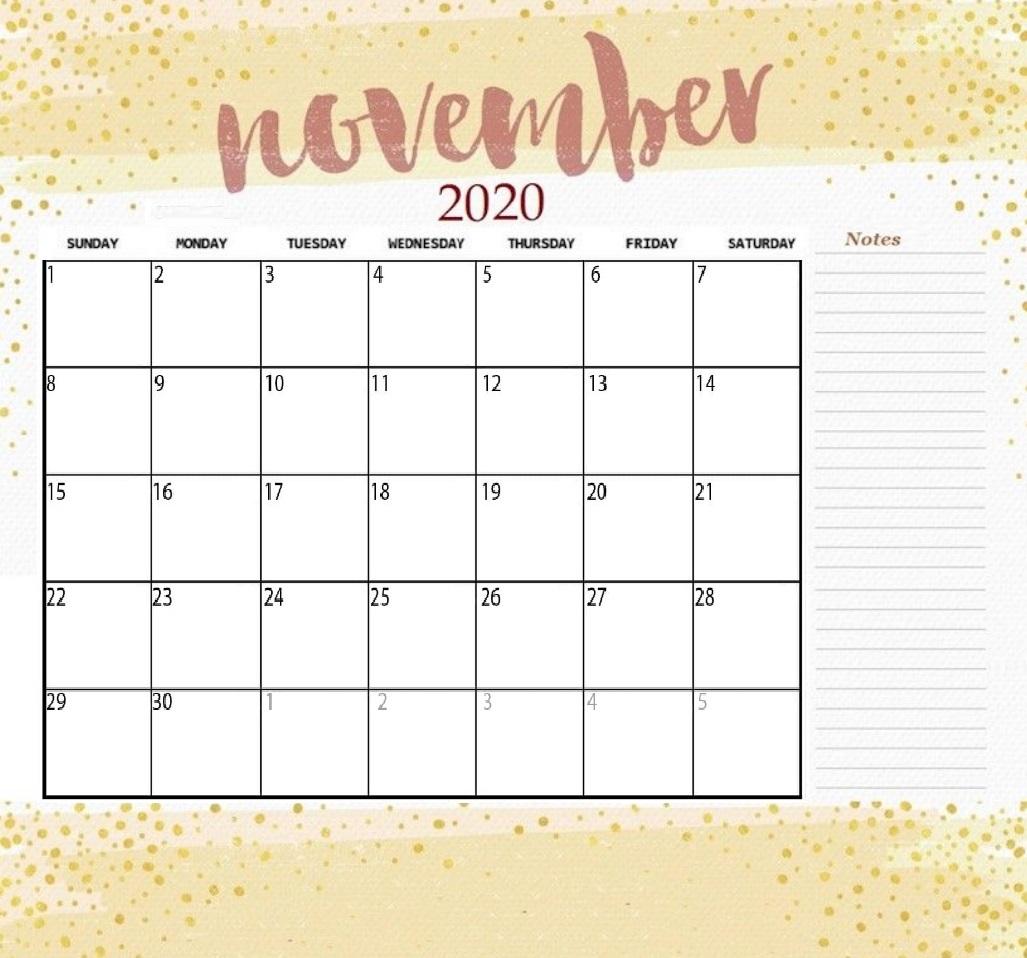 November 2020 Office Desk Calendar
