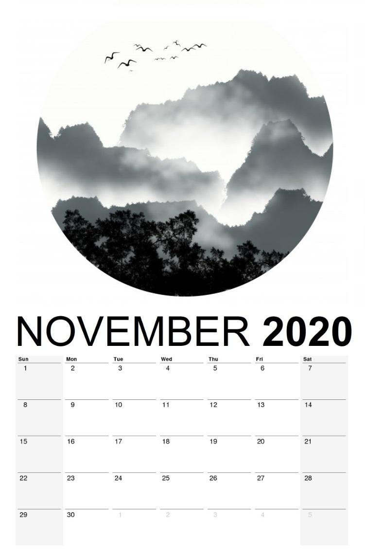 November 2020 River watercolor Wall Calendar