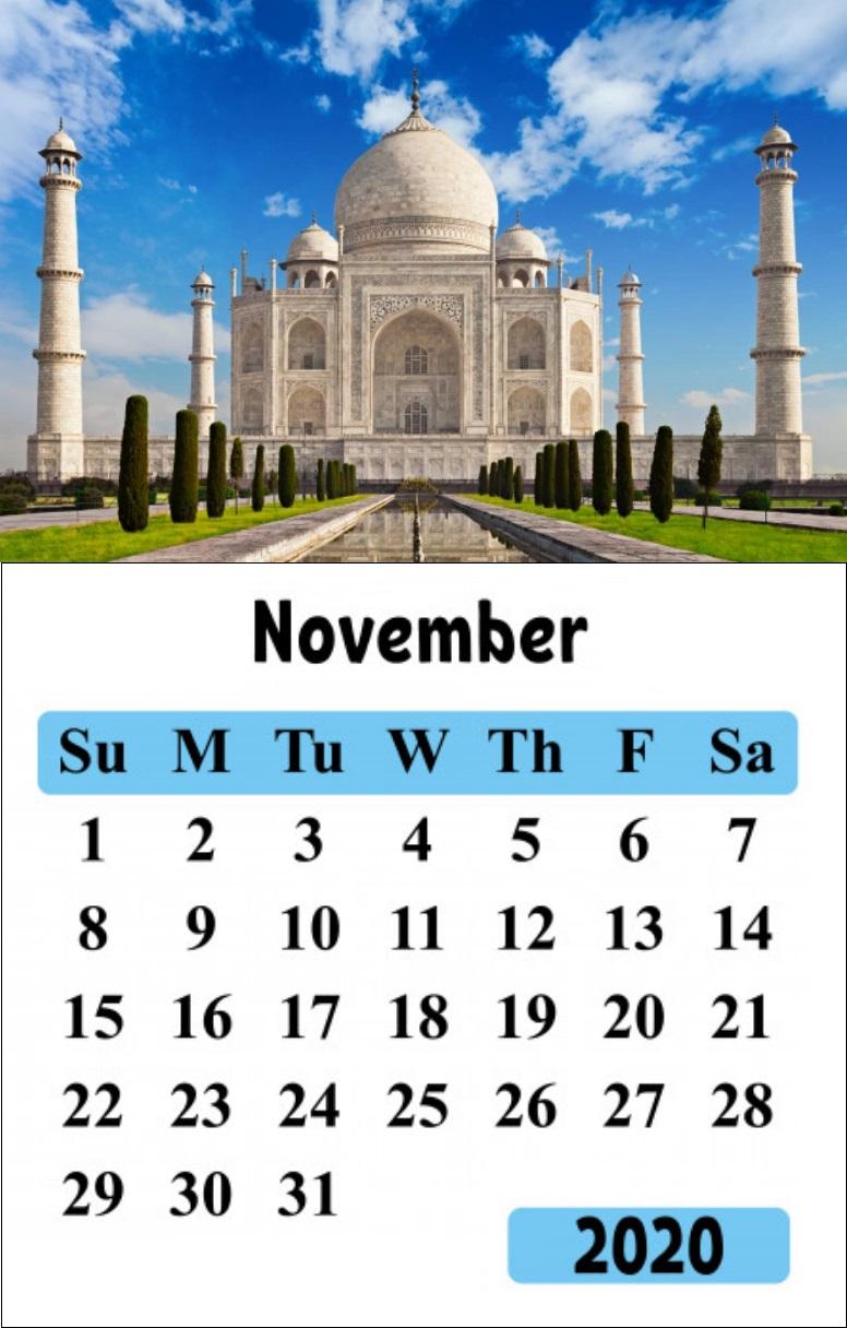 November 2020 Taj Mahal Wall Calendar