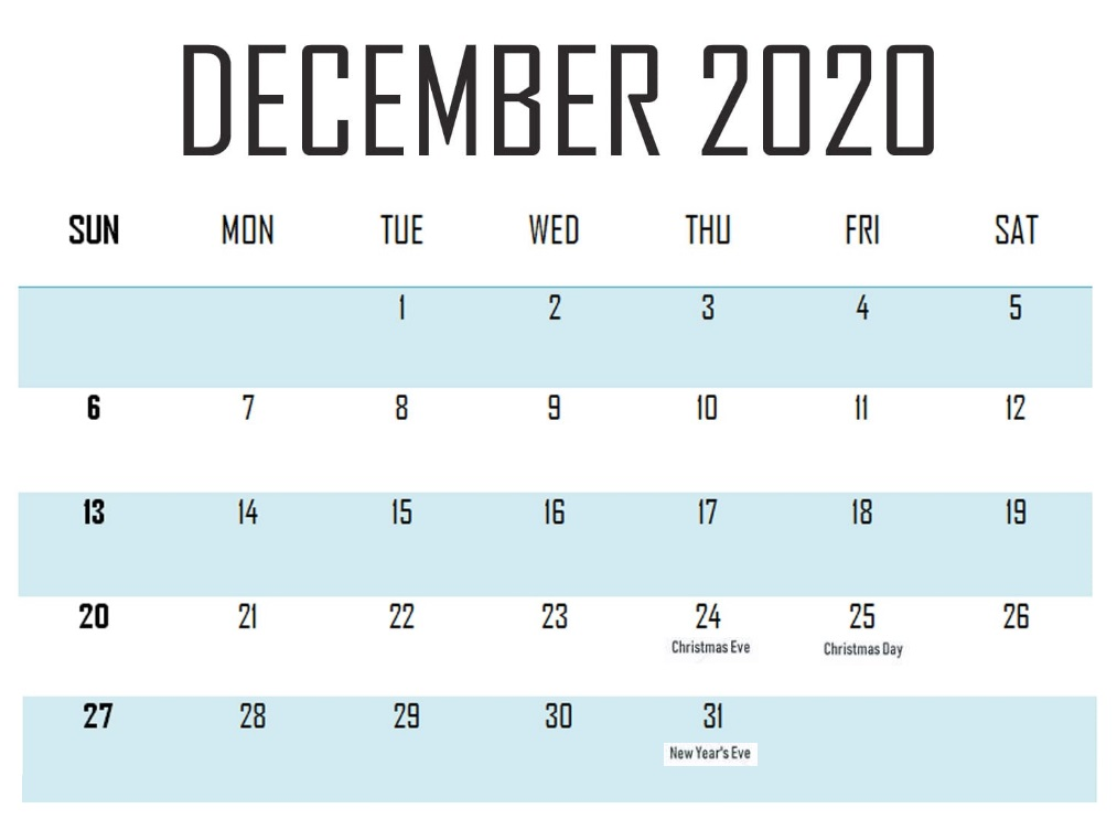 Printable December 2020 Holidays Calendar