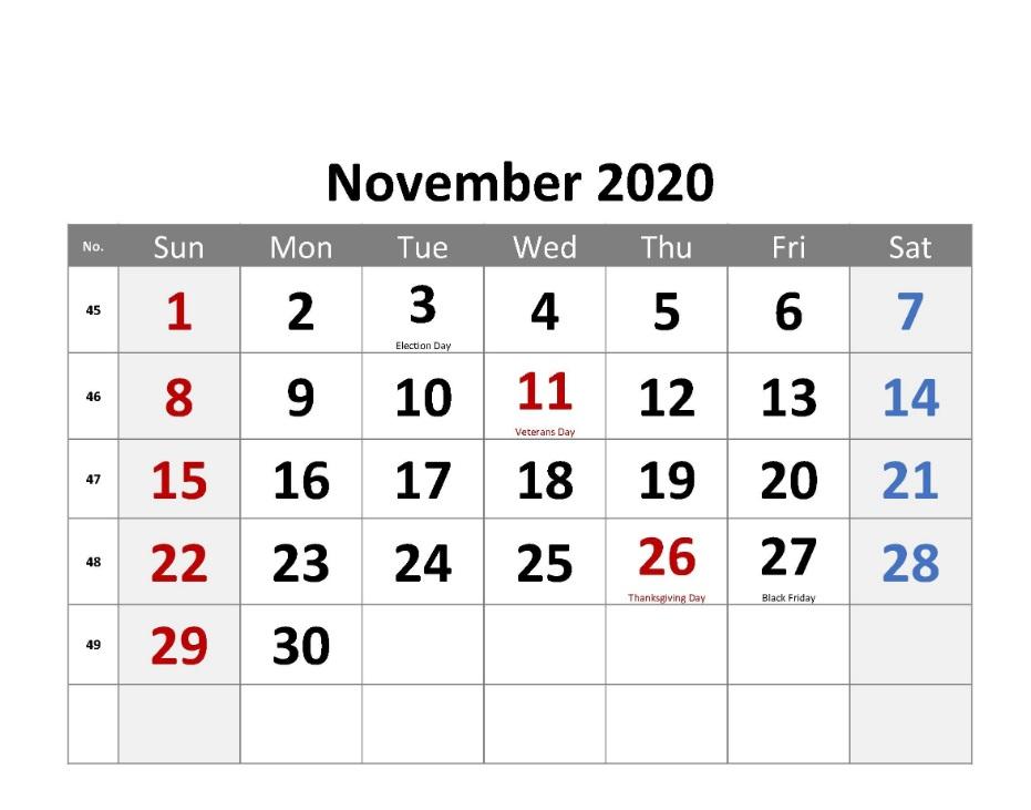 Printable November 2020 Holidays Calendar