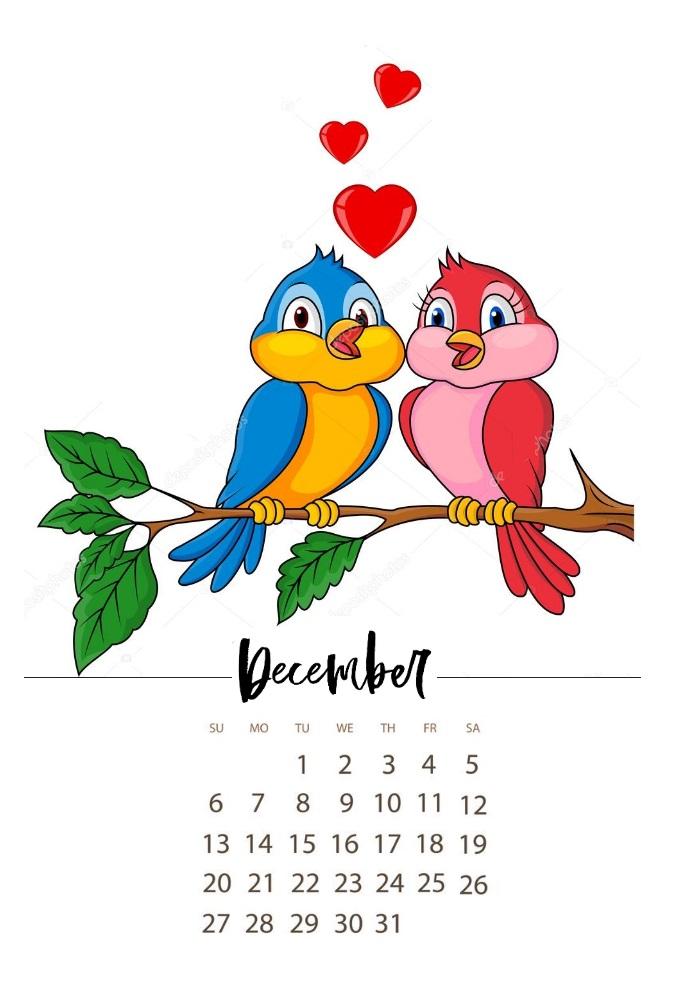 Sweet December 2020 Calendar Designs