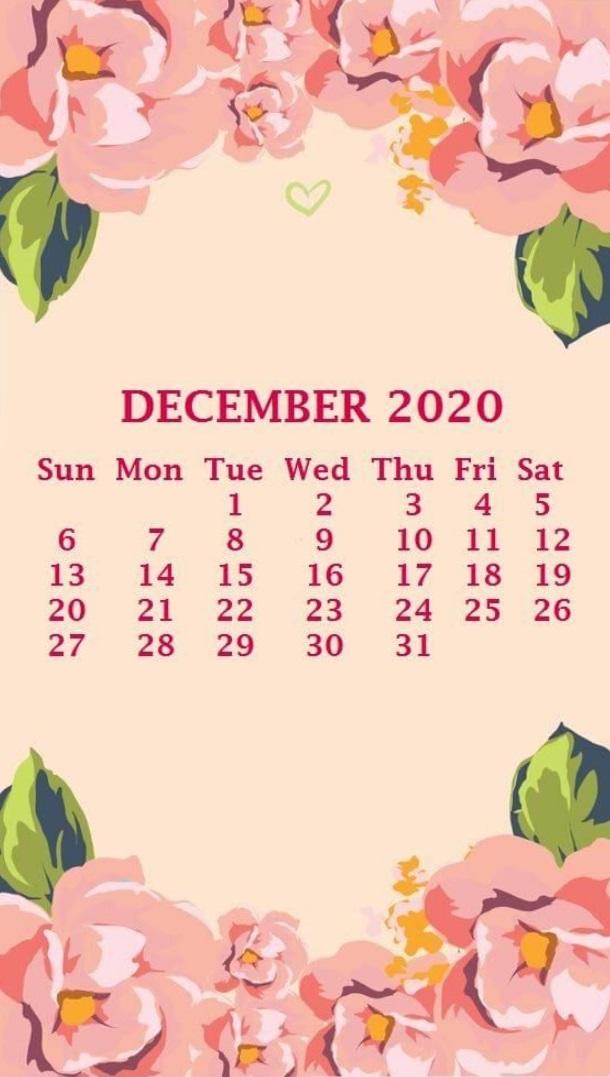 Sweet Floral December 2020 Calendar