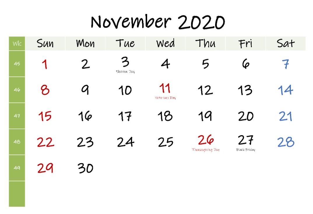 USA November 2020 Holidays Calendar