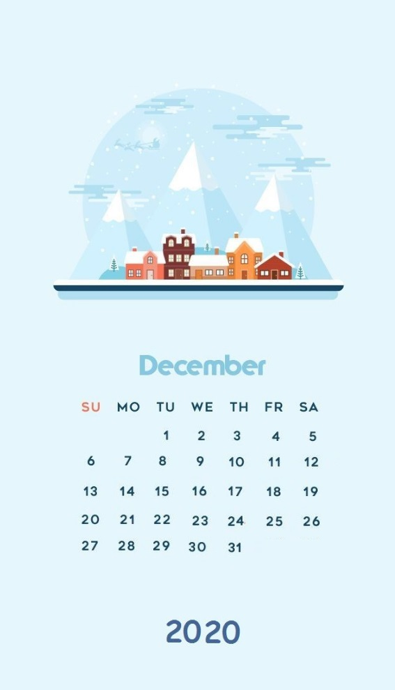 iPhone December 2020 Calendar Wallpaper