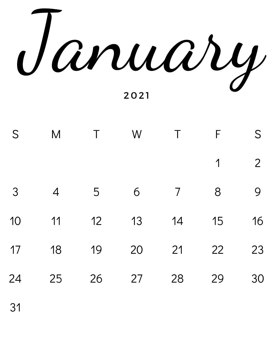 January 2021 Minimalist Calendar Download