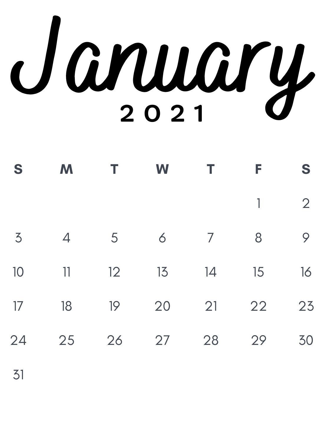 January 2021 Minimalist Calendar Printable